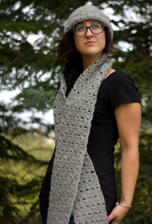 Taupe Crocheted Scarf