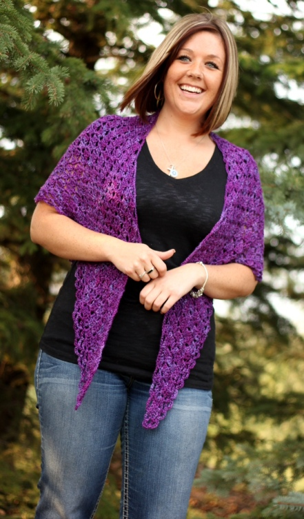 Purple Box Stitch Shawl
