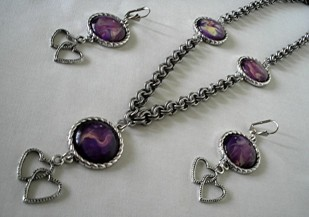 Antique Silvertone Necklace and Earring Set
