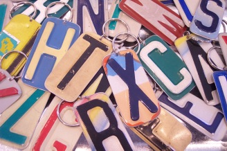 Recycled License Plate Initial Keychain