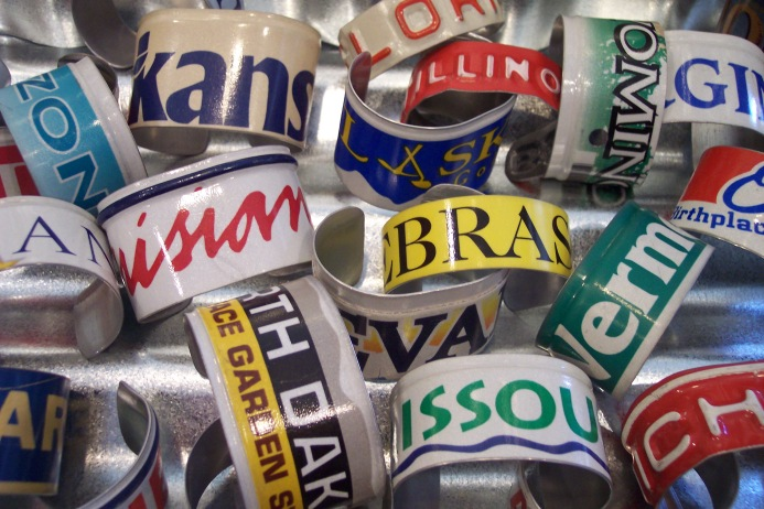 Recycled License Plate State Cuff Bracelet
