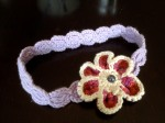 Hand-crocheted Lavender Flower Headband