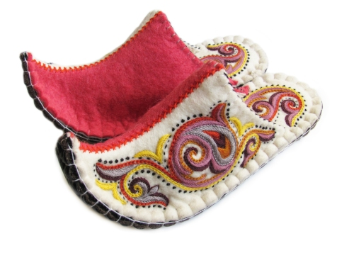 Felted Wool Slippers, Pink