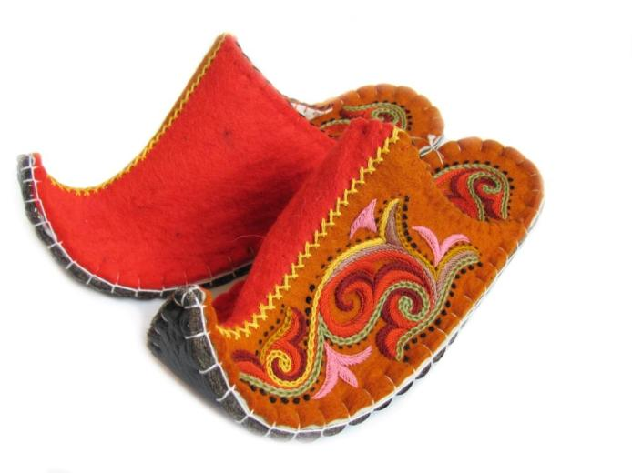 Felted Wool Slippers, Orange