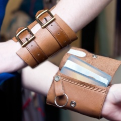 Leather Buckle Wrist Wallet