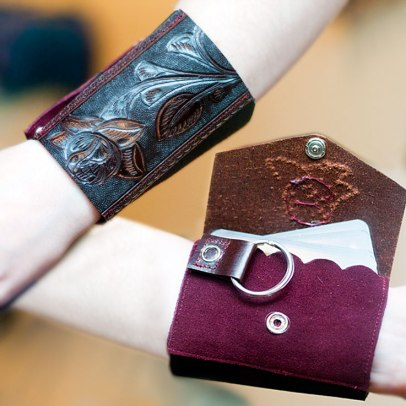 Leather Floral Wrist Wallet