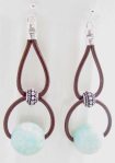 Leather and Gemstone Earrings
