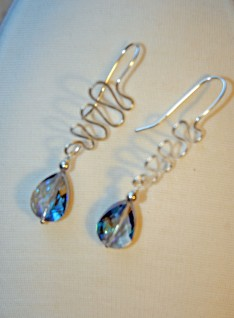 Silver Crystal Swirl Earrings