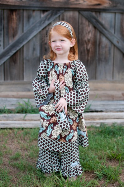 Brown Damask Peasant Dress with Lattice Ruffle Pant