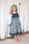 Black Damask Knot Dress with Peasant Top