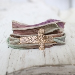 Bronze Cross Silk Wrap Bracelet