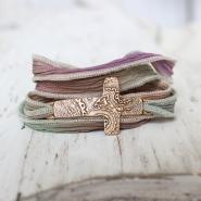 Bronze Cross Silk Wrap Bracelet