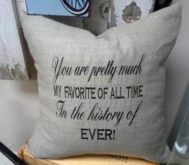 "Embroidered Linen Pillow, ""My Favorite of All Time"""