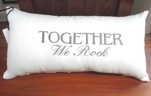 "Embroidered Linen Pillow, ""Together We Rock"""