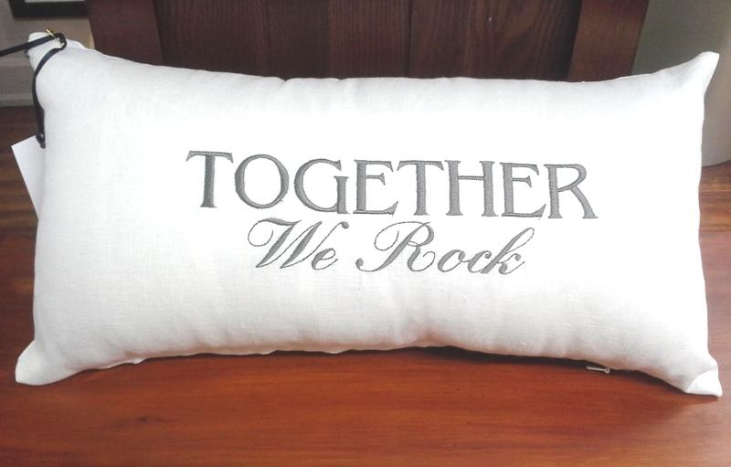 Embroidered Linen Pillow, Rectangle