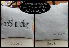 Embroidered Linen Pillow III