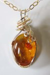 Wire Wrapped Baltic Amber Pendant
