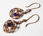 Amethyst and Pearl Earrings in Copper