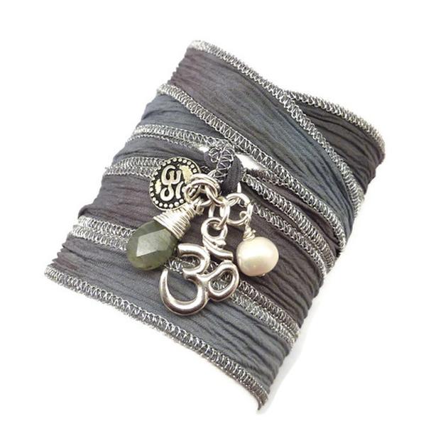 Gray Silk Wrap Bracelet