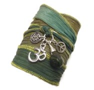 Green Silk Wrap Bracelet
