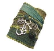 Green Silk Wrap Bracelet