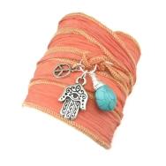 Orange Silk Wrap Bracelet