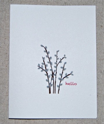 Gray Pussy Willow Folded Note Card Set (with original illustration)