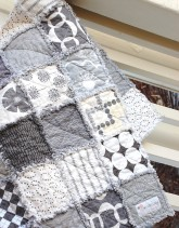 Large Grey Throw Quilt