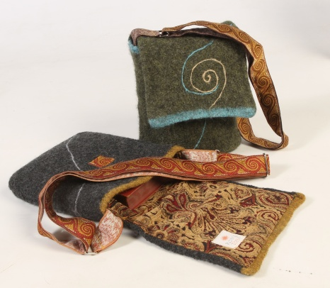 Silken Swirl Felted Wool Messenger Bag