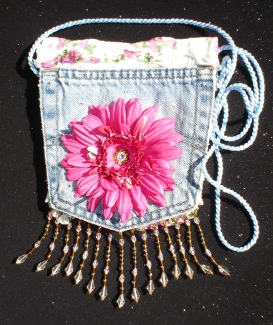 Denim Jewel Flower Bag