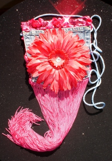 Denim Pink Fringe Flower Bag
