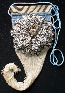 Denim Zebra Print Pocket Purse