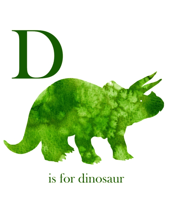 D is for Dinosaur Watercolor Print